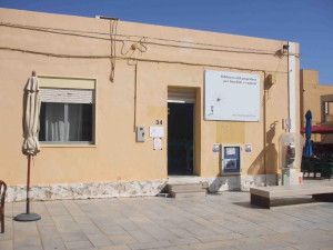 The exterior of the new library in Lampedusa, which will open in September 2013