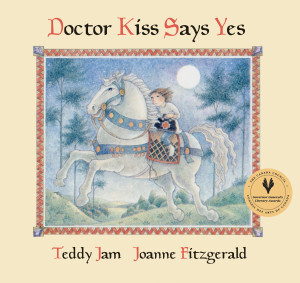 Doctor Kiss Says Yes written by Teddy Jam, illustrated by Joanne Fitzgerald (Groundwood Books, 1991; reissued 2012). All royalties from the sales of this book will be donated to the Joanne Fitzgerald Fund at IBBY Canada to support the Joanne Fitzgerald Illustrator in Residence Program. Image courtesy of Groundwood Books.