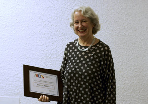 Patsy Aldana was awarded the 2012 Claude Aubry Award at a ceremony in Toronto on October 1, 2013. Photo courtesy of Camilia Kahrizi.