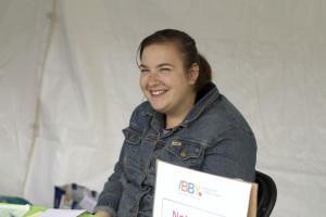 Councillor-Ontario Rebecca Gold representing IBBY Canada at Toronto's The Word on the Street. Photo courtesy of Camilia Kahrizi.