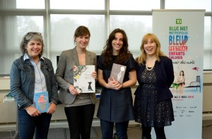 IBBY Canada's 2014 Honor List books were on display at the Blue Metropolis event in Montreal on May 4, 2014. From left to right: Rachel Martinez, Isabelle Arsenault, Janice Nadeau, and IBBY Canada President Shannon Babcock. Photo: Jean Bernier