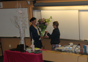 Julie Morstad (left) receives the 2013 Cleaver Award from jury member Allison Taylor-McBryde (right) at a presentation ceremony at the University of British Columbia on May 3, 2014
