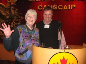 Ken Setterington with long-time IBBY supporter Claire Mackay. Photo courtesy of Ken Setterington.