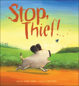 Stop, Thief! , écrit par Heather Tekavec et illustré par Pierre Pratt (Kids Can Press, 2014). Couverture reproduite avec l'autorisation de Kids Can Press.