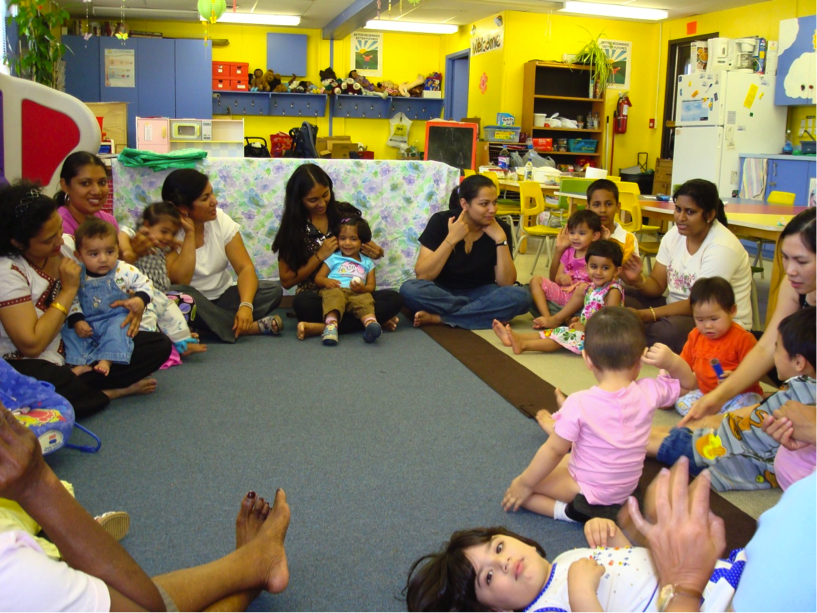 Parents and little ones at the Vermont Square Parent-Child Mother Goose Program, nominated for the 2016 Asahi Award.