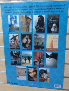 Poster of Deborah Ellis's novels on display at the Carmel College library. Photo courtesy of Catherine Mitchell.