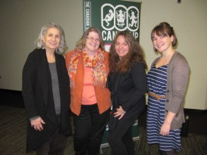 IBBY Canada board members with Patricia Storms at the CANSCAIP meeting on January 14, 2015. From left to right: Theo Heras, Helena Aalto, Patricia Storms, and Katie Scott. Photo courtesy of Lena Coakley.