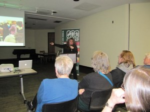 Patricia Storms speaks to CANSCAIP members about her experience as the Joanne Fitzgerald Illustrator in Residence on January 14, 2015.