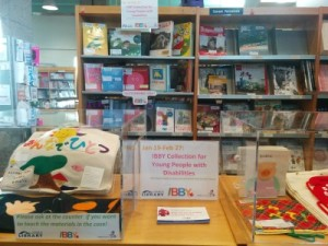 The display at the Japan Foundation, Toronto, promoting the IBBY Collection for Young People with Disabilities. Photo courtesy of the Japan Foundation, Toronto.