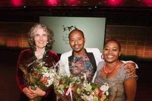 PRAESA's Carole Bloch, Malusi Ntoyapi, and Ntombizanele Mahobe at the ALMA award ceremony, Stockholm Concert Hall, June 1, 2015. Courtesy of ALMA. Photo: Stefan Tell