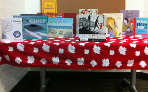 Books on display at the Annual Meeting of Members, including shortlisted books for the 2015 Cleaver Award and the Canadian selections for the 2016 IBBY Honour List.