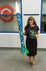 Joan Marie Galat put Dot to Dot in the Sky: Stories of the Aurora into a rocket and launched it with a blast off that sent the book up and over Edmonton's Telus World of Science.
